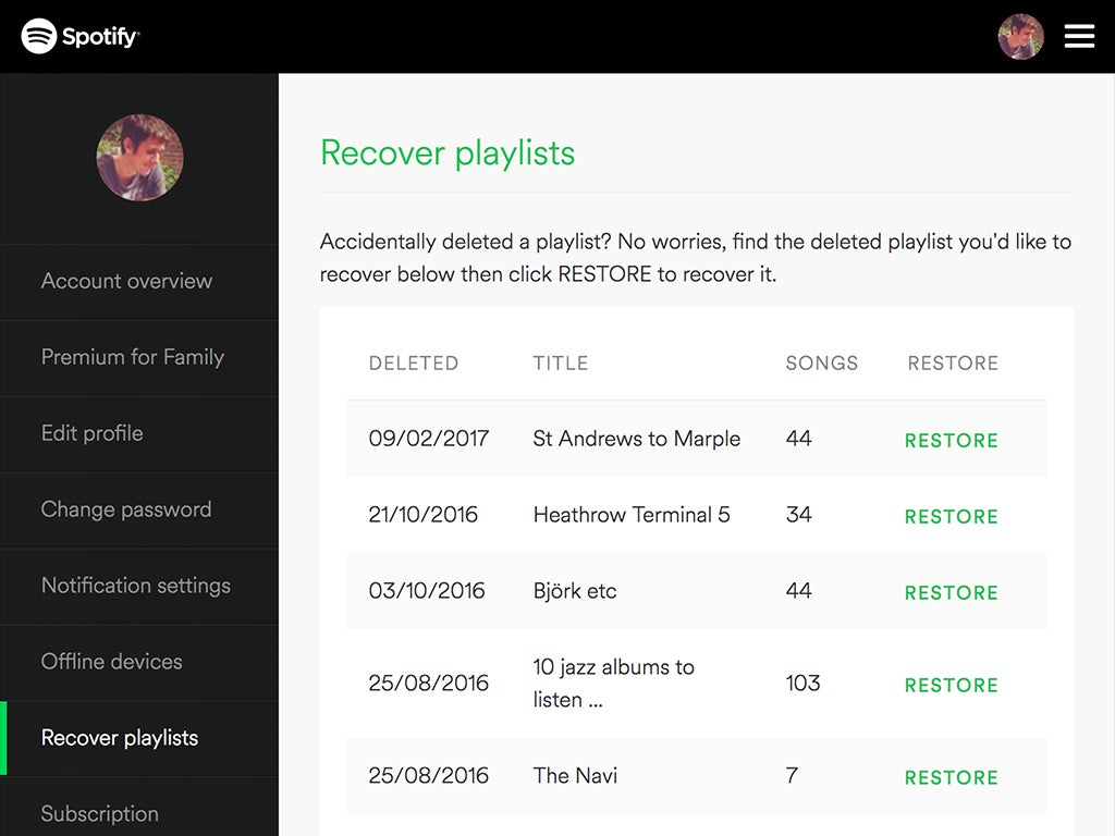 Spotify's built-in playlist recovery tool, which can help you restore deleted playlists.