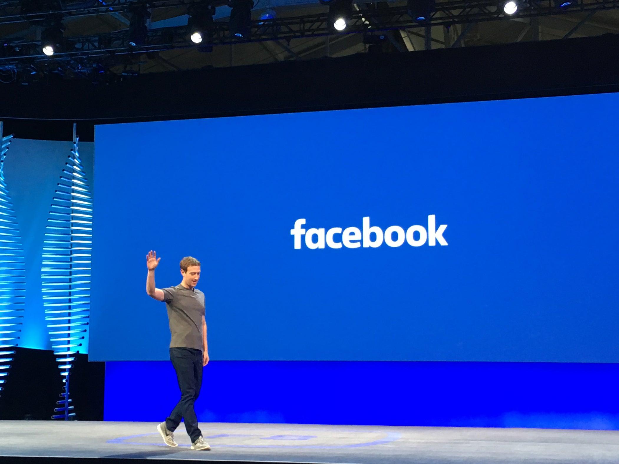 Mark Zuckerberg walks on stage to open Facebook's F8 developer conference.