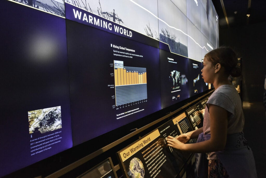 a girl looks at a touch screen