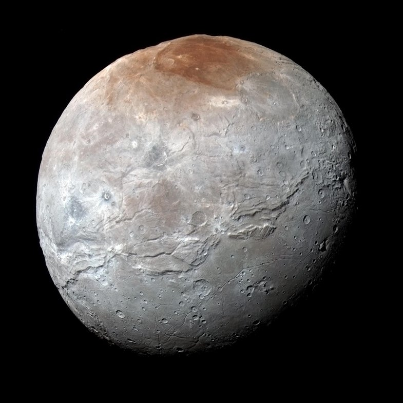 Pluto's moon Charon in New Horizons color-processed image