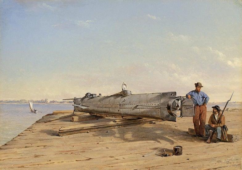 Hunley submarine painting