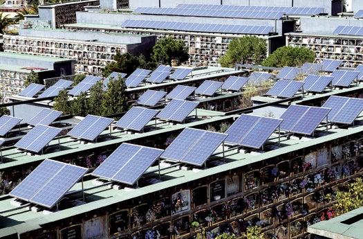 Mausoleum-Mounted Solar Panels Light Up A Spanish Town