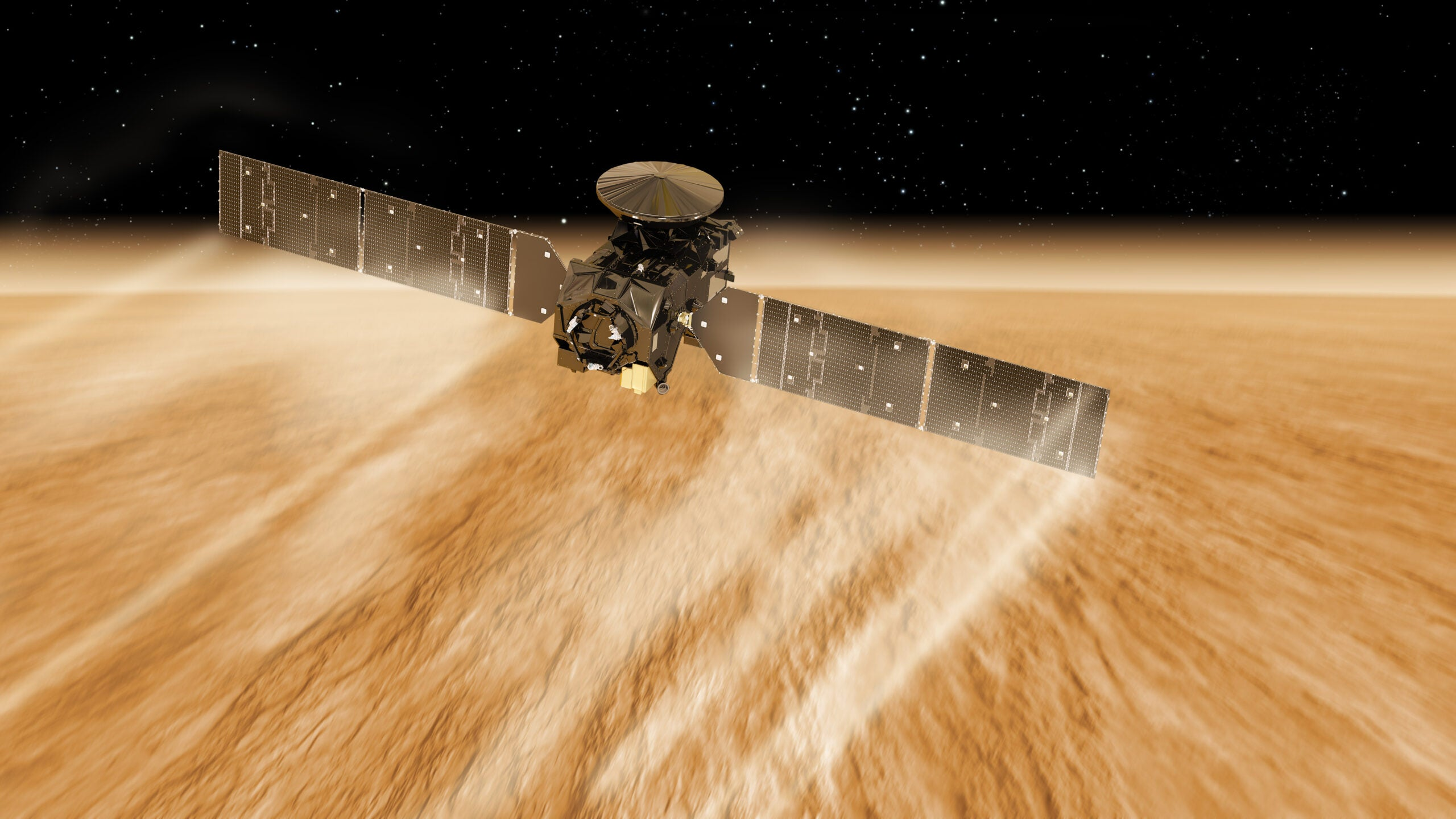 A spacecraft is using the Martian atmosphere to get closer to the planet