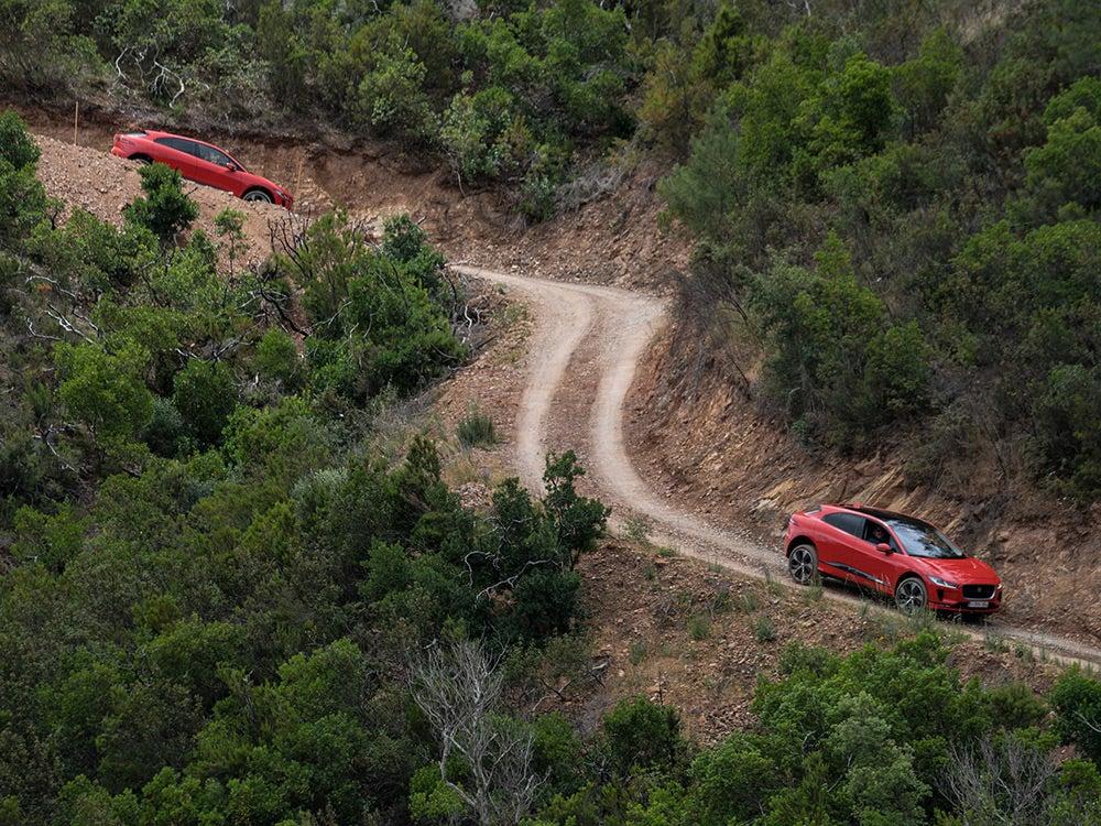 Jaguar I-Pace on mountain track