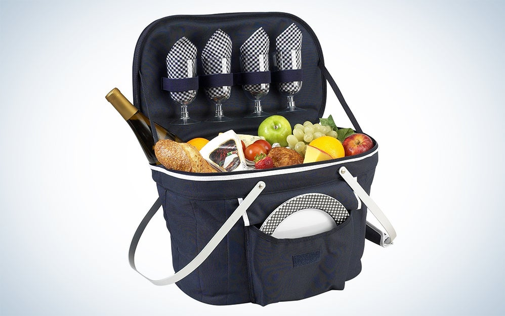 Picnic at Ascot Patented Collapsible Insulated Picnic Basket Equipped with Service For 4