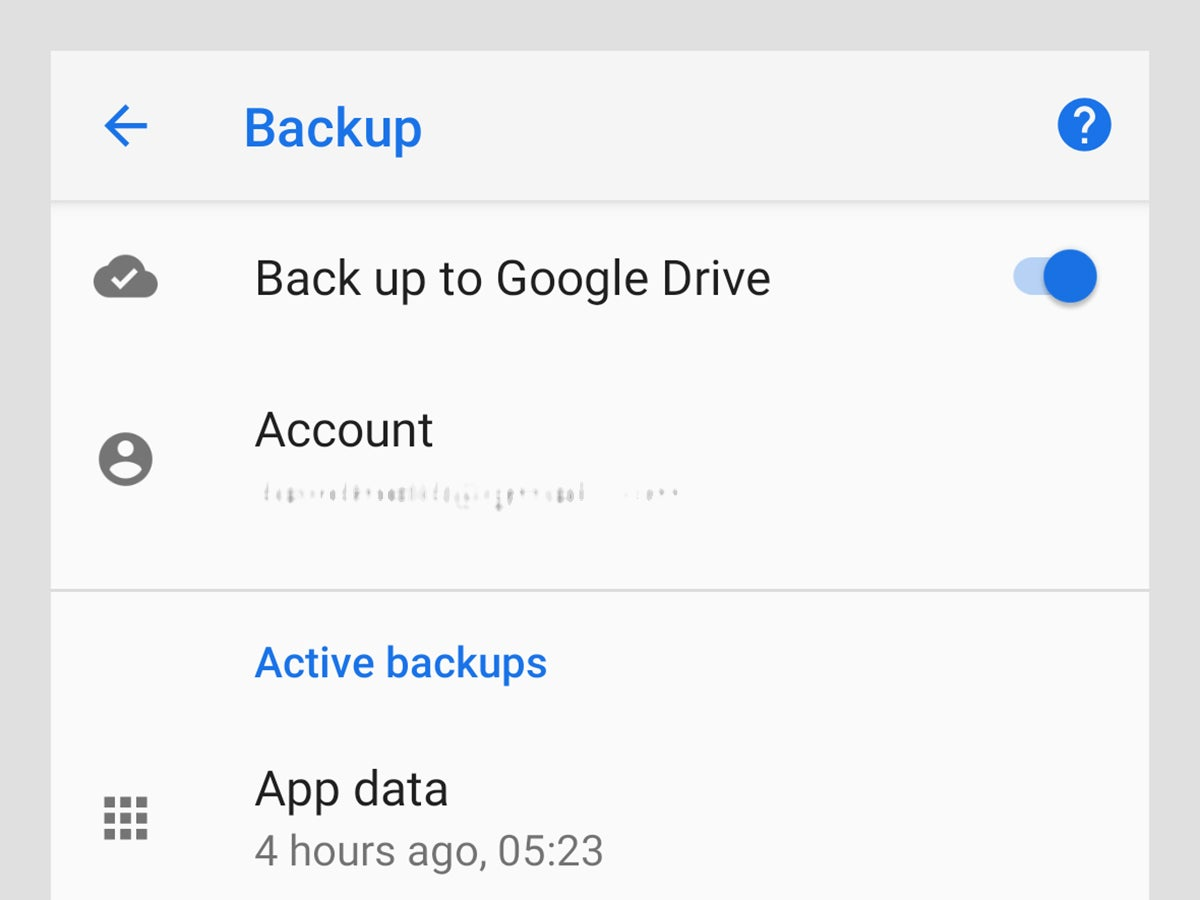 The settings screen on an Android device for file backup.