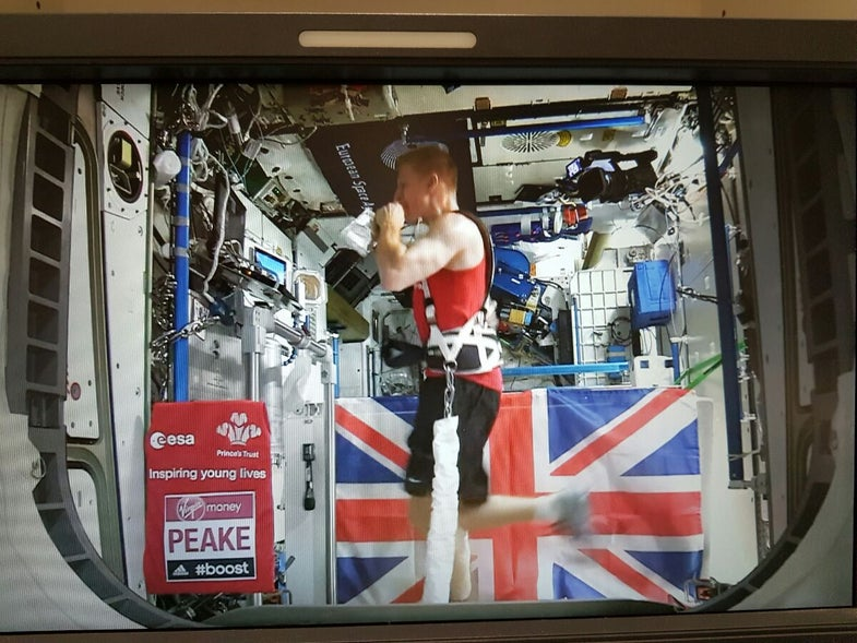Tim Peake completing the 2016 London Marathon from space.