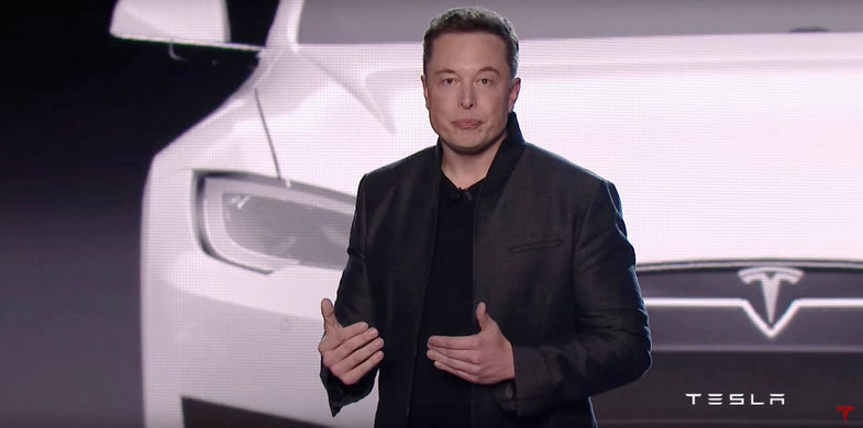 Elon Musk at the Tesla Model 3 unveiling event
