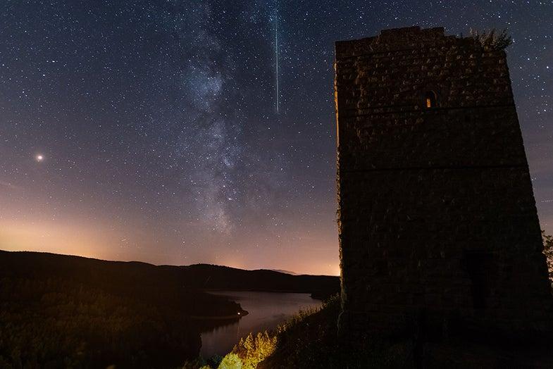 Meteor shower from Pierre-Percee lake area in France
