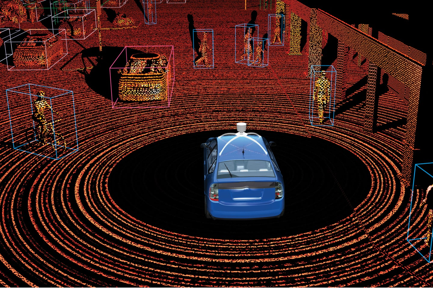 Google driving uses lasers to identify moving objects like pedestrians.