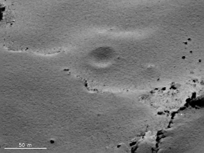 impact crater on comet