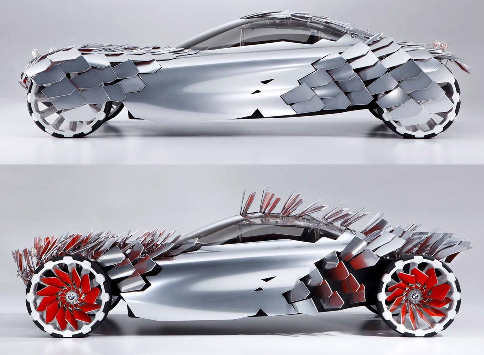 Scaly BMW Concept Car Collects Solar Power, Then Raises Panels to Brake