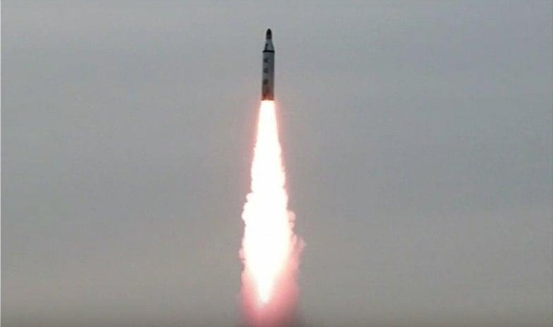 North Korean Missile Flies Upward