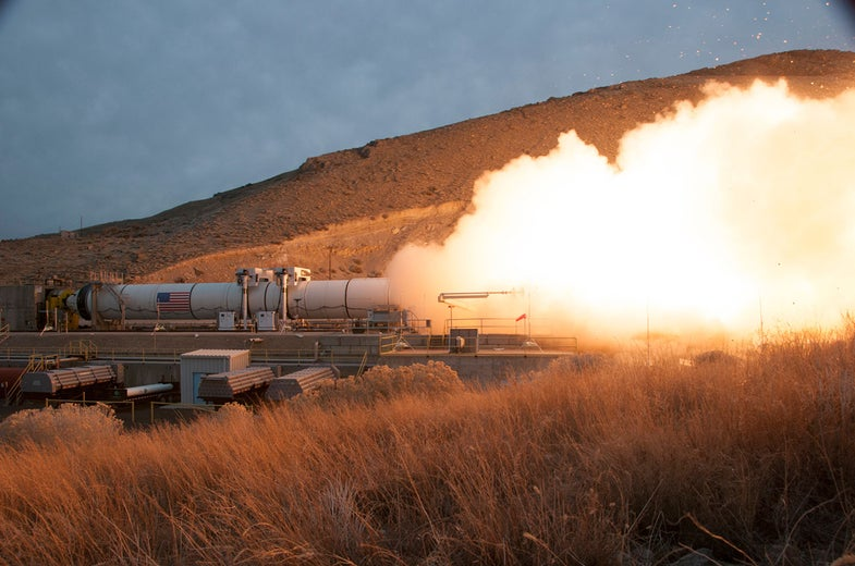 NASA SLS rocket booster gets test-fired in March 2015.