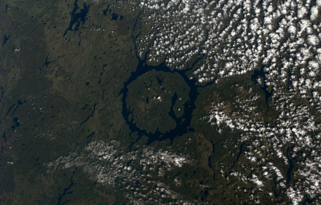Manicouagan crater, as photographed by a member of the International Space Station Expedition 17.