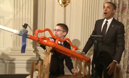 Video: President Obama Test-Fires a Marshmallow Cannon at the White House Science Fair