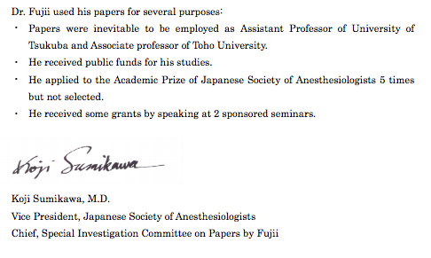 Japanese Anesthesiologist Completely Faked 172 Papers
