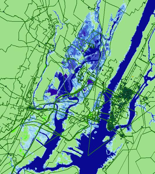 Seawater inundation projected for New York City by 2033 and its effect on internet infrastructure.