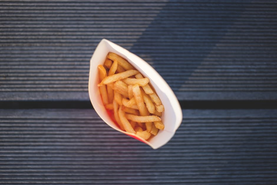 Aerial view of french fry container