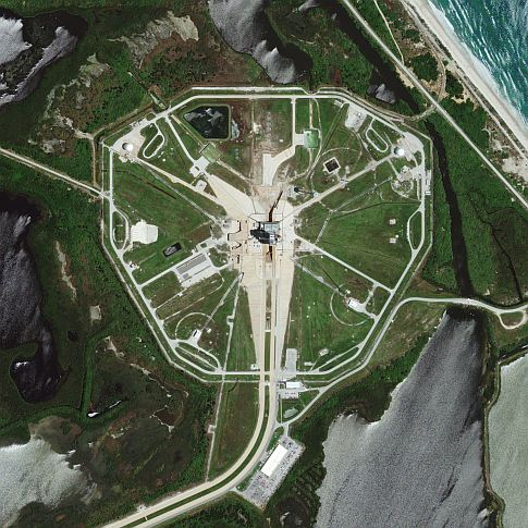 GeoEye-1 Captures Poised Space Shuttle Endeavour