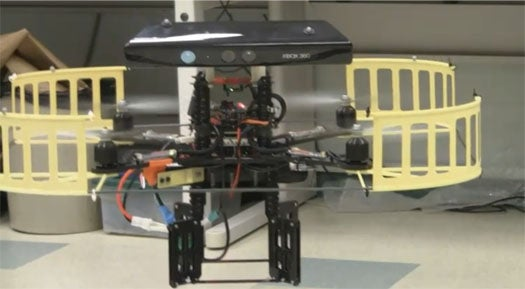 Kinect Steers Quadrocopter Drone to Search and Destroy