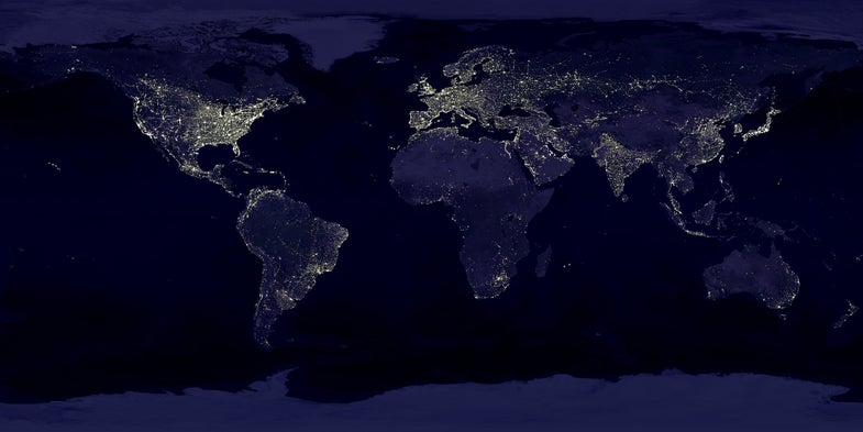 Earth lights from the atmosphere.