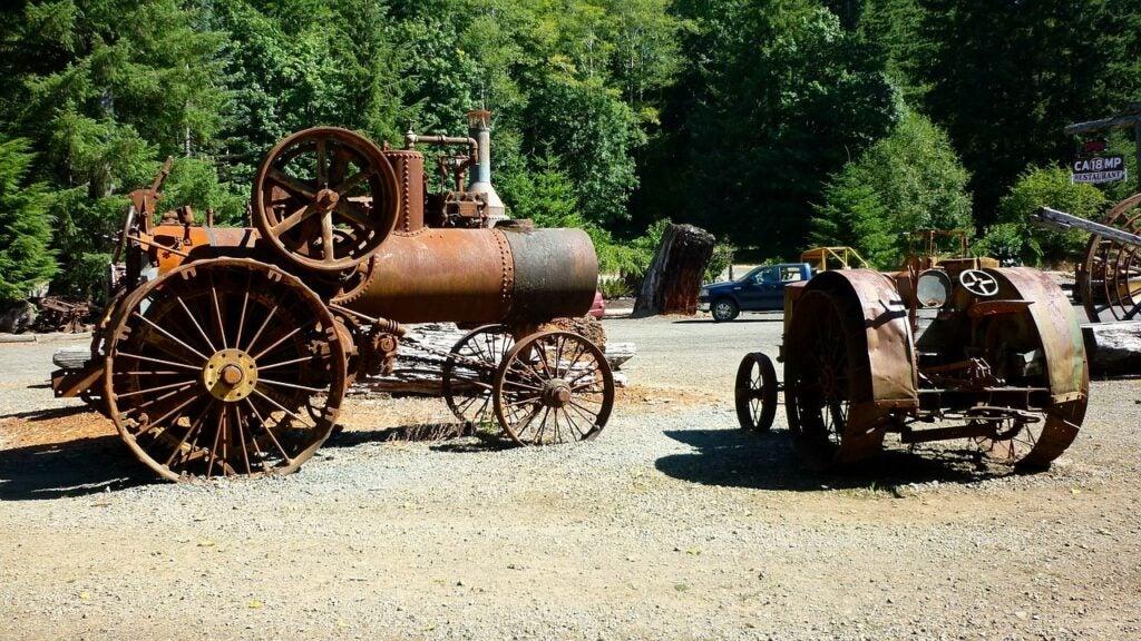 Vintage, industrial farm equipment