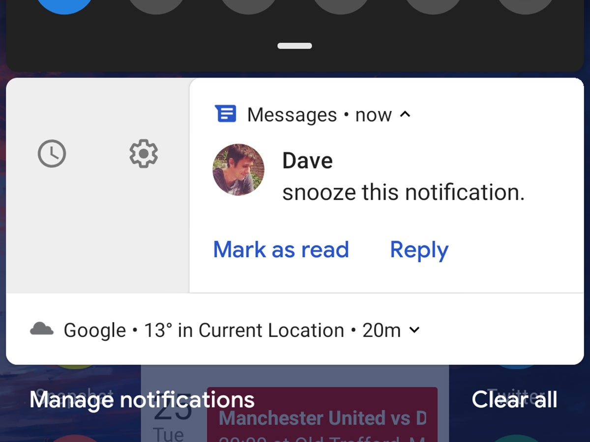 Android notifications with the option to snooze alerts.
