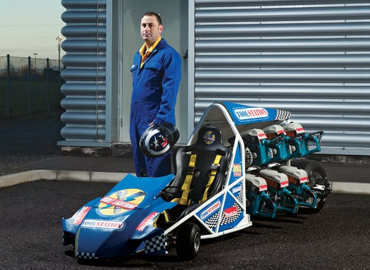 A Disc-Cutter-Powered Drag Racer That Hits Nearly 50 MPH