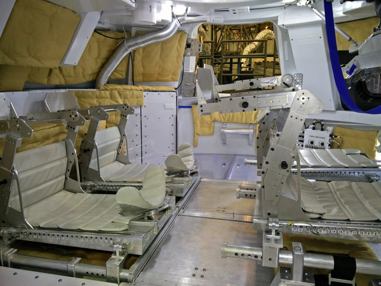 Inside an Orion mock-up