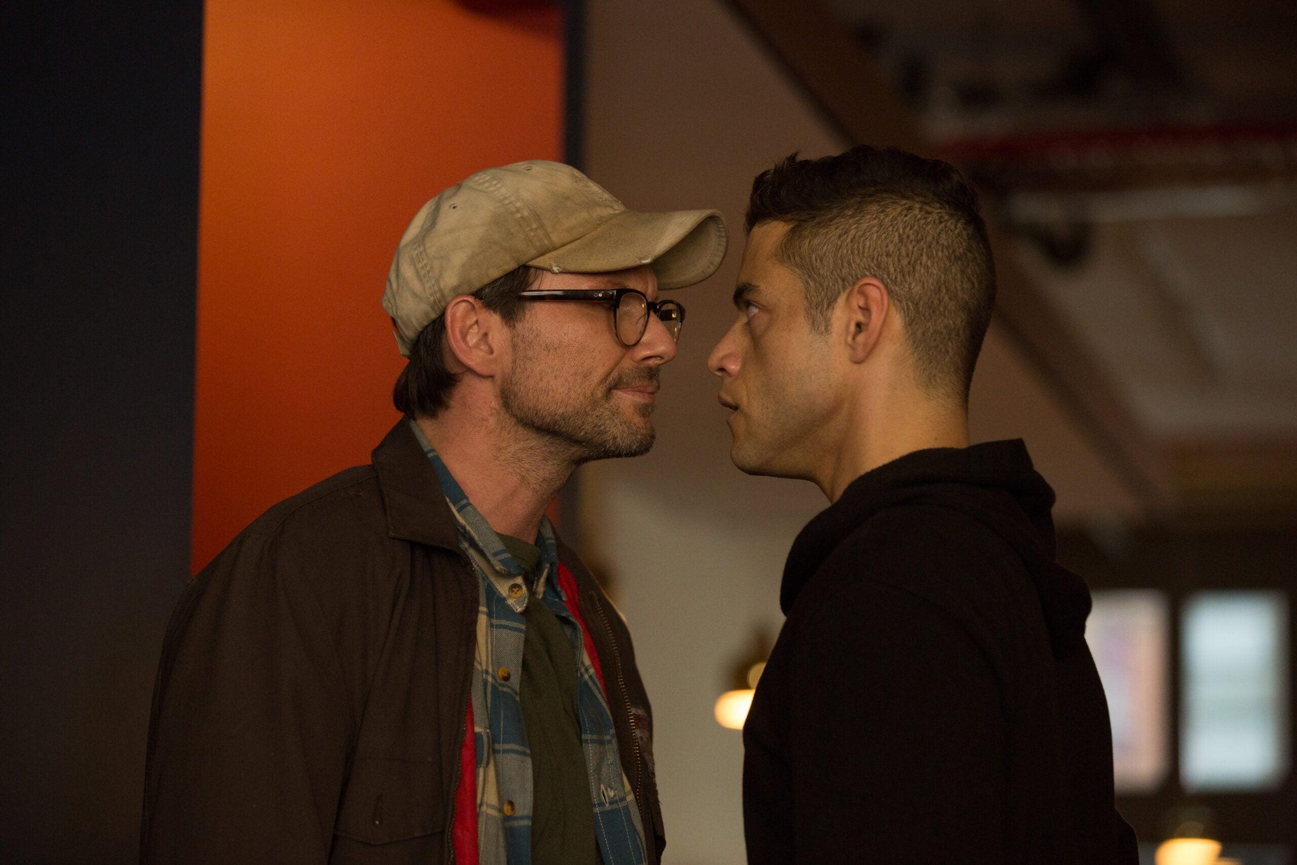 Mr. Robot (Christian Slater) faces hacker Elliot Alderson (Rami Malek) in the season one finale of 'Mr. Robot'