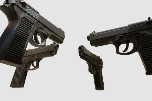 4 handguns