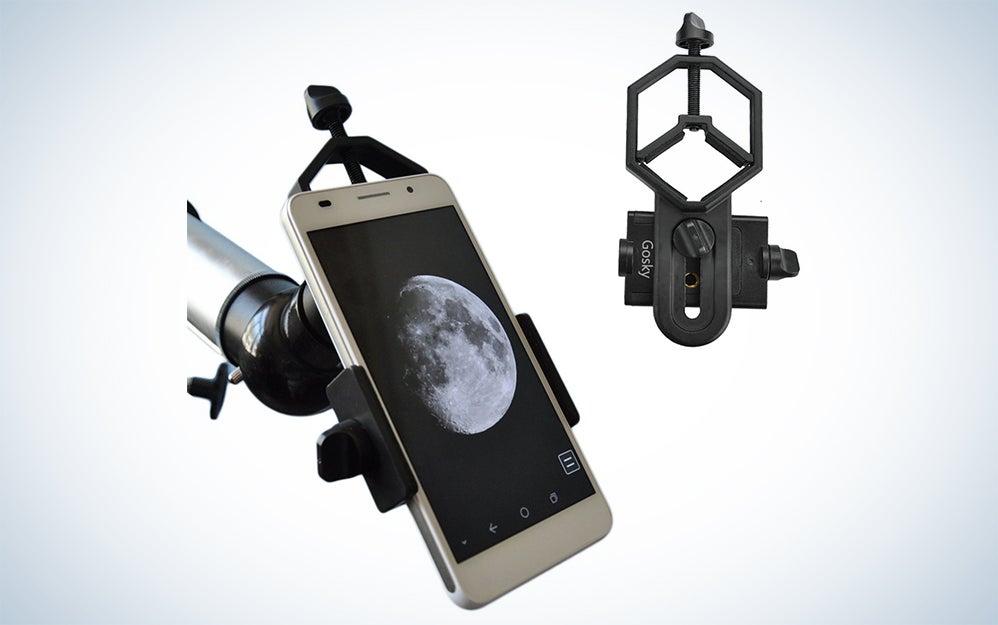 Phone mount for telescopes or binoculars