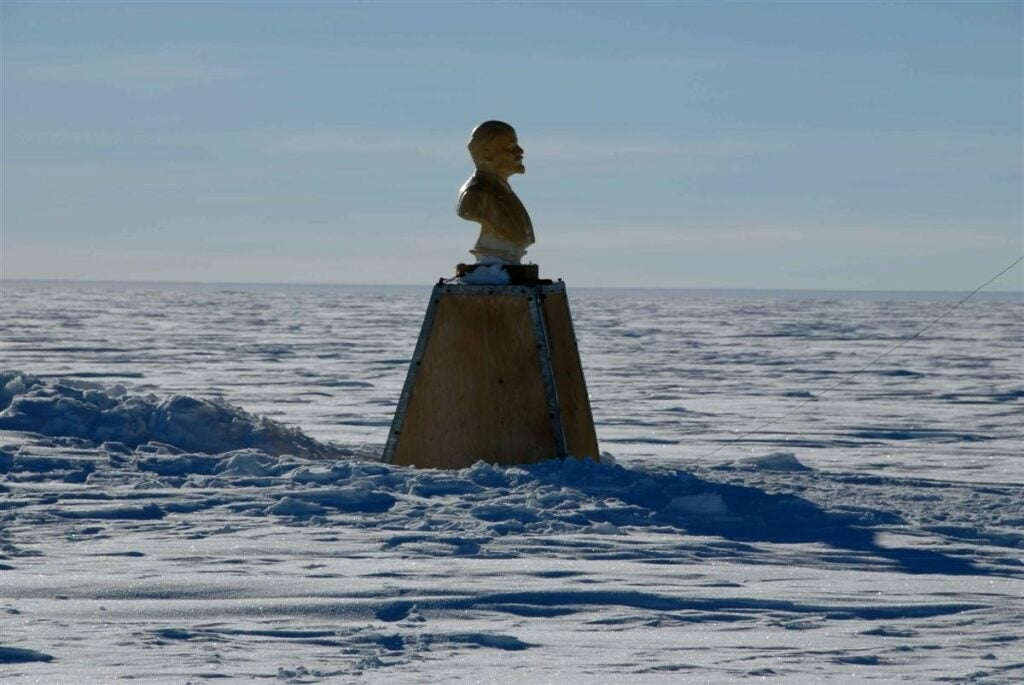 statue of Lenin at the pole of inaccessibility