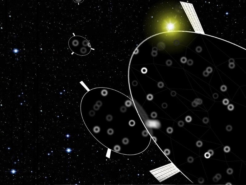 The graphic shows mirrors blurring the light from distant stars.