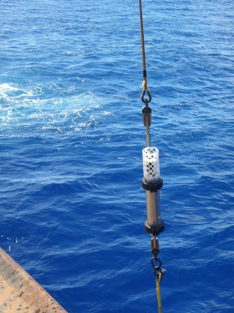 The hydrophone on its way to record the Challenger Deep in the Mariana Trench