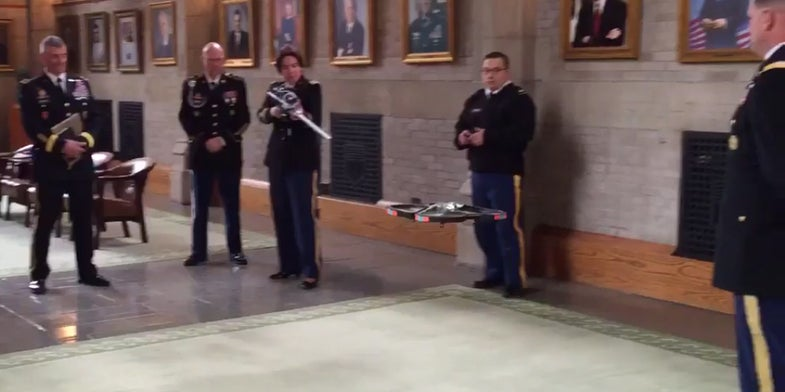Soldier Shoots Down Drone With Cyber Rifle At Defense Secretary's Feet
