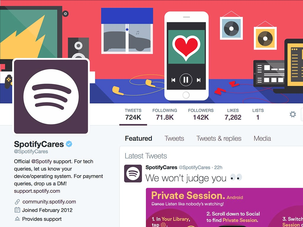 The Twitter account for @SpotifyCares.