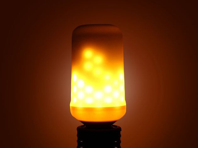 This LED lightbulb mimics the cozy glow of an open fire