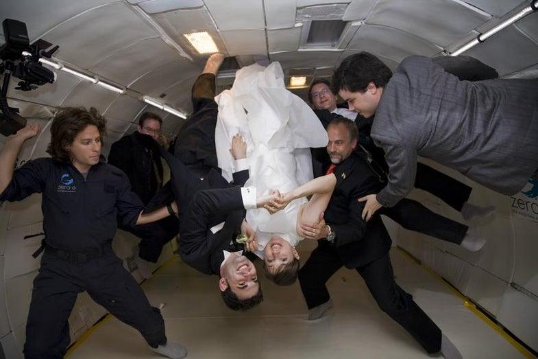 Noah Fulmor and Erin Finnegan tie the knot aboard the Vomit Comet
