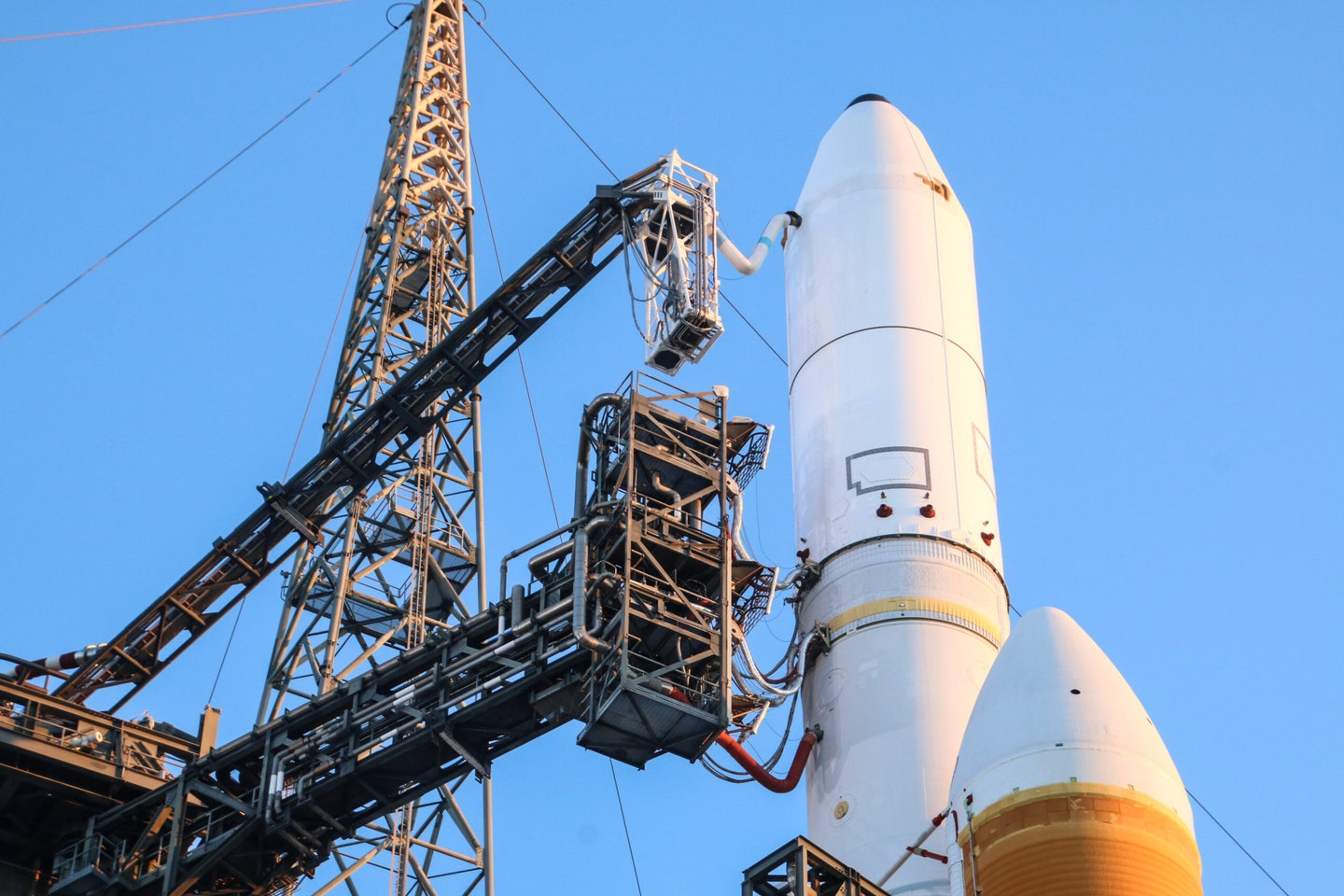 Delta IV Heavy Rocket Waiting on a launch pad In Daylight