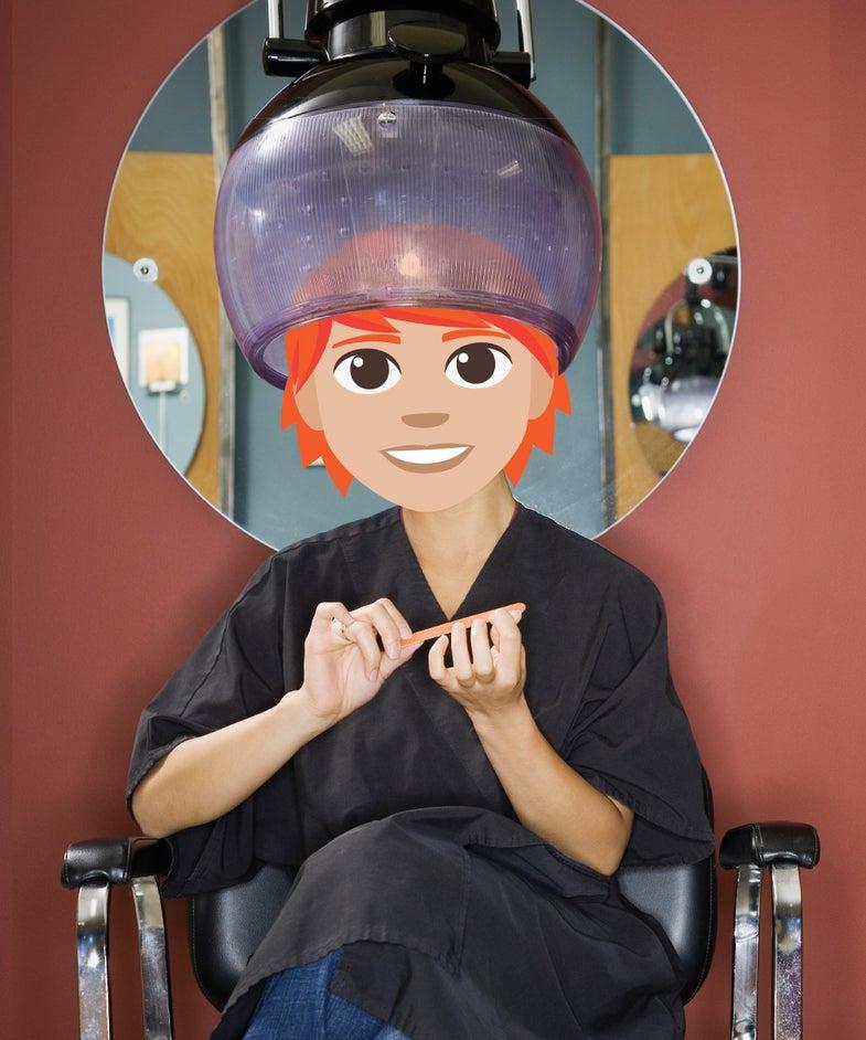 Ginger emoji at salon