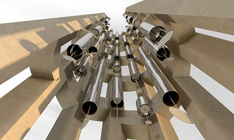 The wind chimes inside the Tower of Voices