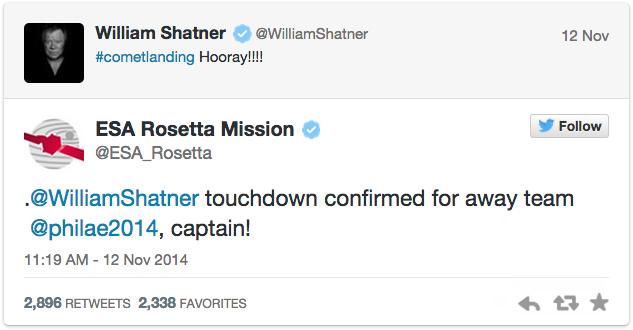 picture of Rosetta's tweet to William Shatner