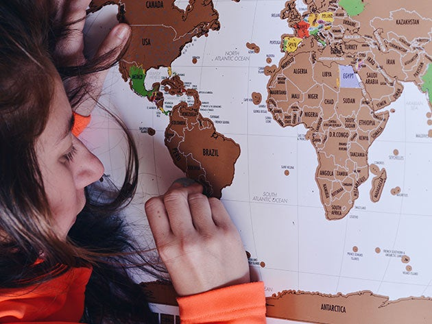 Track your summer adventures with this world travel tracker map