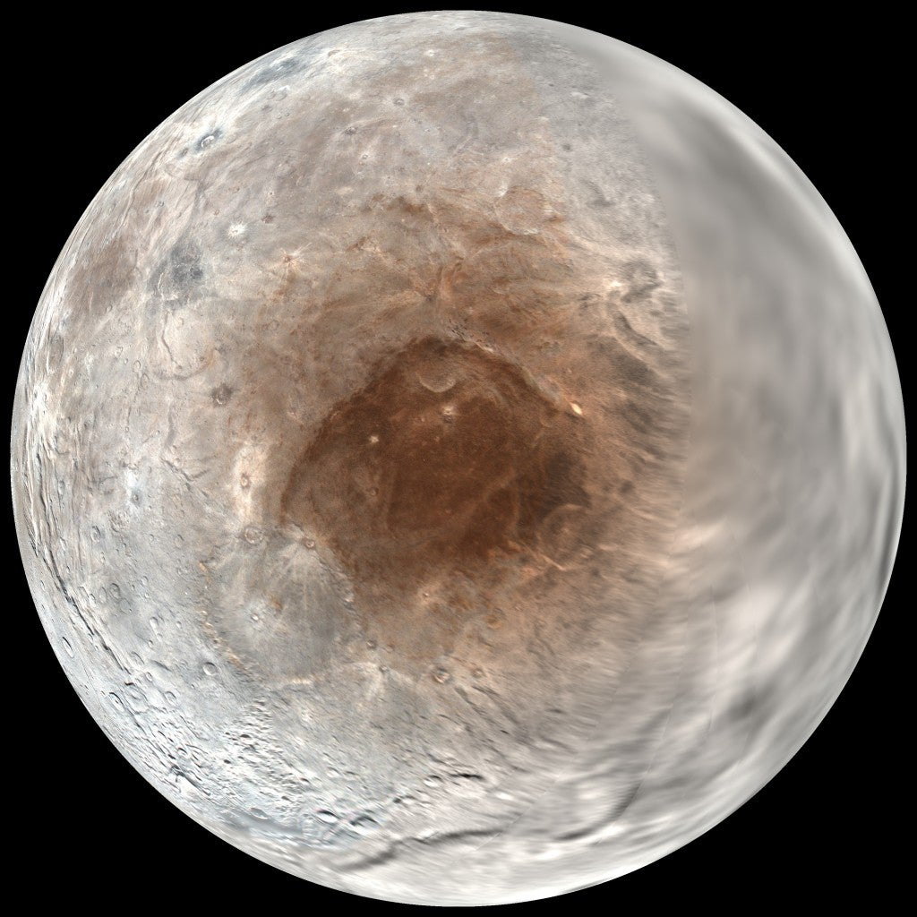 Frozen Gases Give Pluto's Moon Its Red Cap