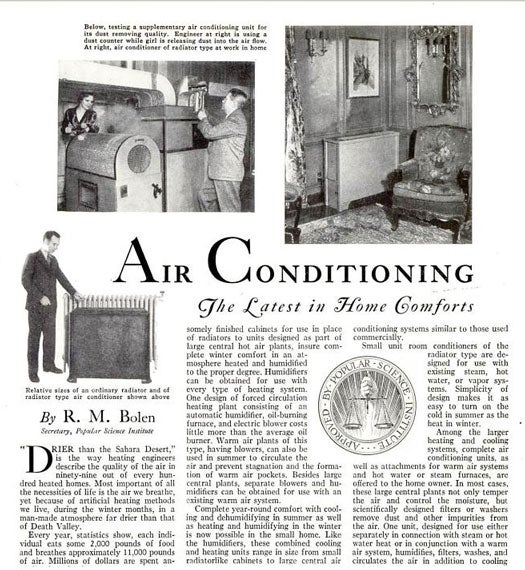 Air Conditioning: September 1932