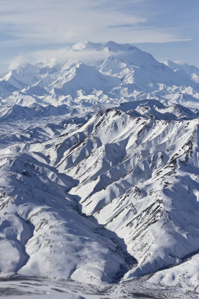 A snowcapped Denali from the air