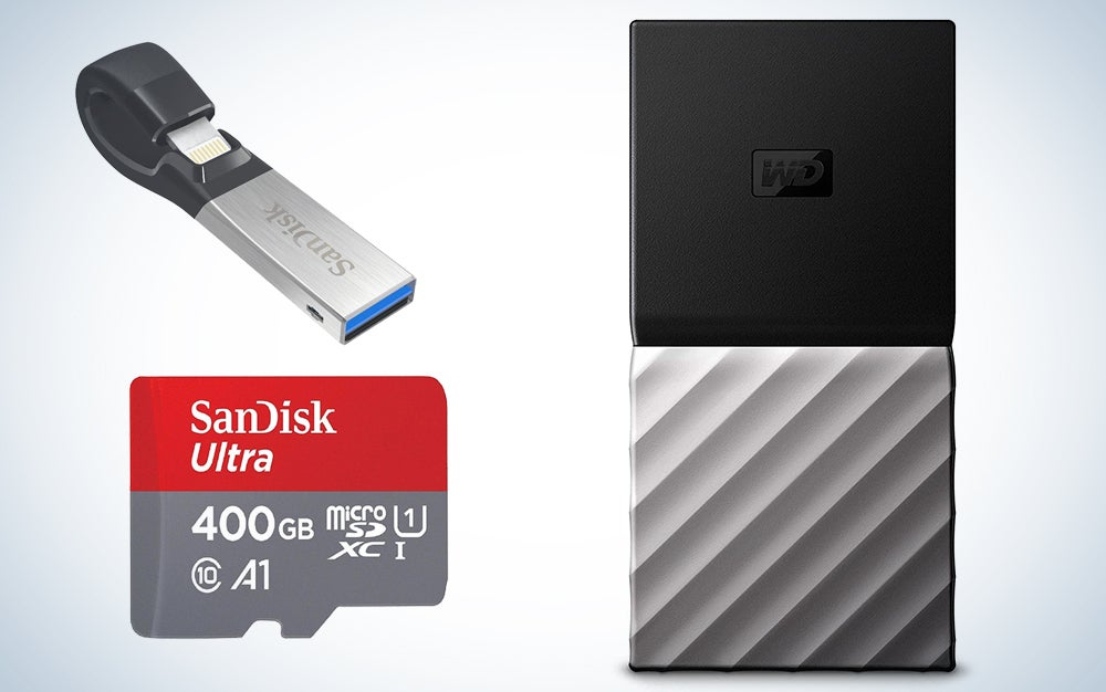 SanDisk, WD, and G-Technology storage devices