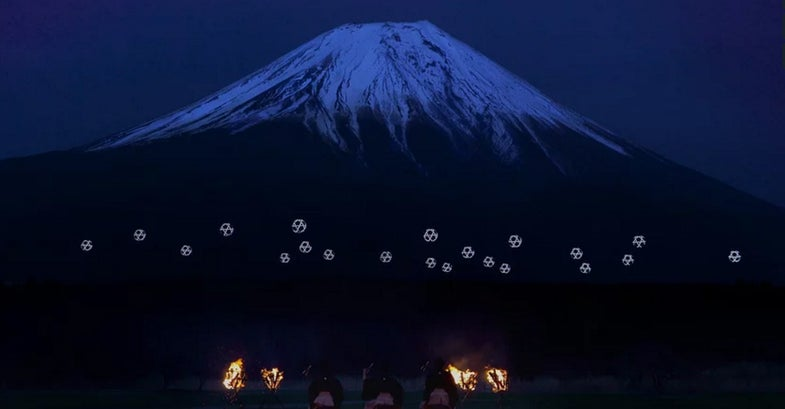 Drone Ballet Turns Mount Fuji Into Cyberpunk Lightscape